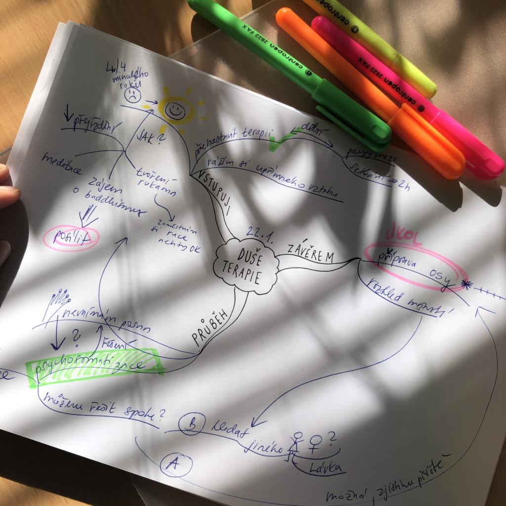 myšlenková mapa pomáhá uspořádat si myšlenky